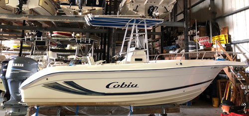 Cobia Fishing Boat in Dry Boat Storage